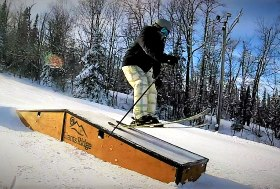 Pic of Boom shredding on the boxes at Giants Ridge